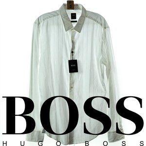 """Hugo Boss """"Riccardo"""" LS White Shirt Sz L NWT"""